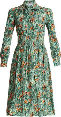 Prada Green Poppy-Print Silk-Crepe Dress