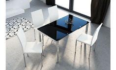 Mesa de cristal negro y patas cromadas extensible 140x80x75