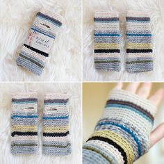 Striped wrist warmers.