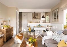 This charming apartment in warm tones in Spain is surrounded by a beautiful natural park, so the owners in interior design wanted to recreate the ✌Pufikhomes - source of home inspiration Small Space Living, Small Spaces, Small Apartment Interior, Ikea Interior, Interior Styling, Interior Design, Design Case, Little Houses, Beautiful Interiors