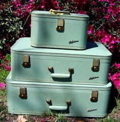 Vintage White Lady Baltimore Suitcases Luggage sold