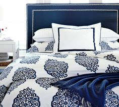 Tamsen Square Bed in Navy - love this bedding!