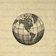 Earth Globe World Map Digital Image Graphic Planet Download Printable Antique Clip Art for Transfers Printing etc HQ 300dpi No.2940
