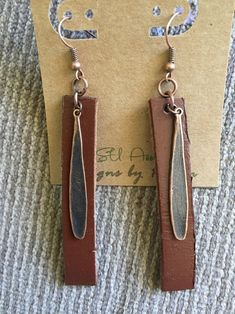 Leather and Antique Copper Bar earrings l water drops l Drop | Etsy