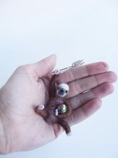 Hanging Sloth with disco ball, Sloth Jewelry,Animal Brooch