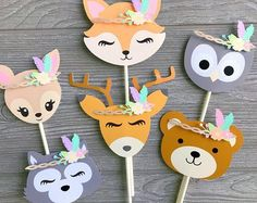 Woodland animal Cupcake Toppers on Mercari Wild One Birthday Party, Baby Party, Baby Birthday, First Birthday Parties, First Birthdays, Party Animals, Animal Party, Woodland Animals Theme, Animal Cupcakes