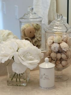 half Bathroom Decor Accessorize a bathroom, from cluttered mess to pleasantly less. Bathroom Counter Decor, Bathroom Spa, Bathroom Ideas, Bathroom Lighting, Gold Bathroom, Elegant Bathroom Decor, Glass Bathroom, Master Bathroom, Apothecary Jars Bathroom