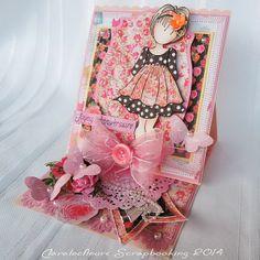 Claralesfleurs Scrapbooking 2014 - Carte chevalet avec Prima Doll, collection de papiers Anna Marie et étampe papillon Lyric