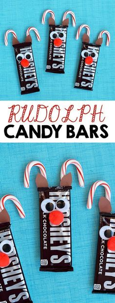 Rudolph Reindeer Candy Bars - I Heart Arts n Crafts DIY: Rudolph Reindeer Candy Bars. A fun and simple gift idea or a party favor idea for a Christmas Party. Christmas Crafts For Kids, Xmas Crafts, Christmas Goodies, Christmas Treats, Holiday Treats, Holiday Fun, Holiday Gifts, Christmas Holidays, Christmas Decorations