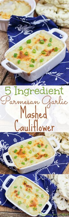The Best 5 ingredient Parmesan Garlic Mashed Cauliflower recipe. Easy, baked and cheesy! Great healthy, low carb, skinny substitute for mashed potatoes! Love the cheese and greek yogurt in this! A quick, simple and healthy clean eating side dish. Includes detailed how to make instructions. Bake to get the crispy brown crust and can mix with a blender without food processor /| Running in a Skirt