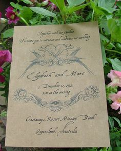 Vintage invitation birds  just the lovely look of old. $100.00, via Etsy.