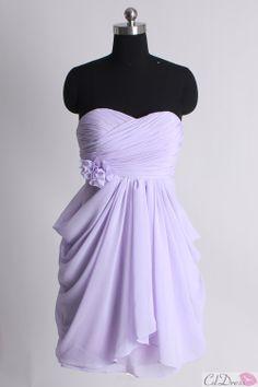 Lavender Sheath Sweetheart Chiffon Short Wedding Guest / Bridesmaid Dress