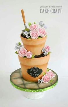 Stacked flower pots birthday cake – Cake by Janette MacPherson Cake Craft - How To Make Crazy PARTY Garden Birthday Cake, Birthday Cake For Mom, Birthday Cakes For Women, Flower Birthday Cakes, Garden Theme Cake, 90th Birthday Cakes, Birthday Ideas, Grandma Cake, Mom Cake