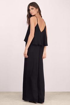 Rompers + Jumpsuits, Tobi, Black Another Level Tiered Wide Leg Jumpsuit