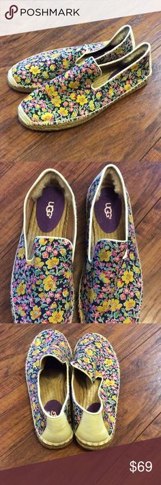 🌺 New   UGG Espadrilles 🌺 Brand new Ugg espadrilles. Floral patten. A pretty print from the archives of Liberty of London covers an espadrille flat detailed with tonal topstitching and finished with a tuft of genuine shearling at the heel for a soft, comfortable fit. - Slip-on style - Textile and synthetic upper/synthetic and genuine shearling lining/rubber and jute sole - Shearling may be sourced from Australia, China, Italy, New Zealand, Spain or USA. See packaging for confirmed country…