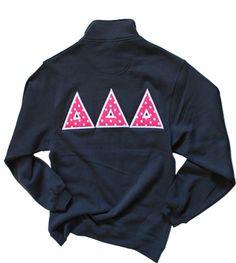 Tri Delta half zip navy sweatshirt