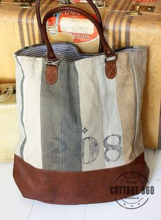 awesome Recycled Canvas Handbags from my work. Canvas Handbags, Tote Handbags, Canvas Tote Bags, Sacs Tote Bags, Sac Lunch, Diy Handbag, Boho Bags, Linen Bag, Denim Bag