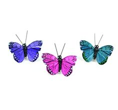 """Touch of Nature 24151 Touch of Nature (Toudl) Touch of Nature Purple, Turquois, & Pink 2"""" Butterflies with Clips, 3Pc - Brought to you by Avarsha.com"""