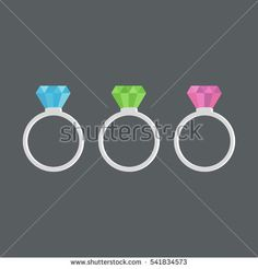 Rings diamond, ruby, emerald and sapphire. Vector illustration.