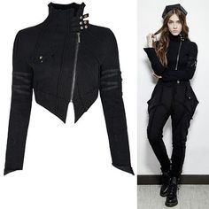 Black Asymmetrical Cropped Gothic Punk Rock Fashion Jackets Women SKU-11401002