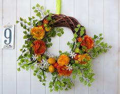 Gorgeous OOAK summer wreath with buttercups Mediterranean style, Italian bright summer wreath with orange wide buttercups and orange blossom