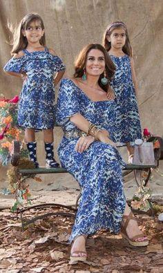 Vestido de Festa Infantil.A atriz Giovanna Antonelli arrasando com suas filhas gêmeas nesses vestido cujos modelos são diferentes mas apresentam a mesma estampa. Um charme! Imagem Pinterest.