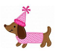 Instant Download Birthday Dachshund Applique Machine Embroidery Design NO:1371