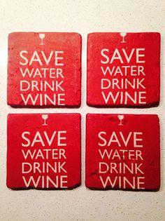 Stone Drink Coasters  Save Water Drink Wine by FramedFamilyJewels