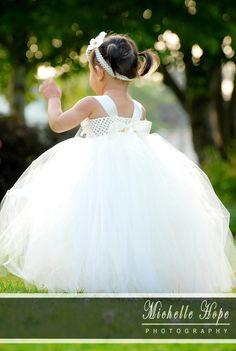 Elegant White/ivory Flower girl tutu dress by JadasLittleGarden, $73.00
