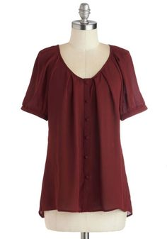 Inspiring Poetry Top - Red, Solid, Buttons, Work, Short Sleeves, Better, Mid-length, Chiffon, Sheer, Woven, Casual, Scoop