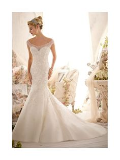 MORI LEE 2617 Crystal Wedding Dress Ivory Tulle Fishtail style size 12 on SALE