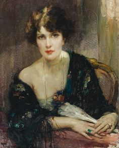 Fernand Toussaint (1873-1955) - Jeune elegante a l'eventail. she looks like Robin from How I Met Your Mother.