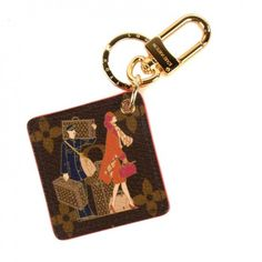 This is the authentic LOUIS VUITTON Monogram Illustre Groom Bag Charm Key Ring. This endearing piece features the playful design of traveller and her Louis Vuitton luggage.