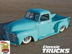 1950 Chevy pickup. Beautiful powder blue.