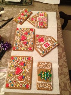 Decorate gingerbread house sides before assembling!as long as it is mostly icing, I think ca Decorate gingerbread house sides before assembling!as long as it is mostly icing, I think candy weight would cause trouble. Gingerbread House Designs, Gingerbread House Parties, Gingerbread Village, Christmas Gingerbread House, Gingerbread House Icing, Gingerbread House Decorating Ideas, Gingerbread Cookies, Gingerbread House Template, Gingerbread Men