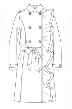 Jacke // technische Wohnung, #Jacke #technische #Wohnung Flat Drawings, Flat Sketches, Dress Sketches, Technical Drawings, Fashion Flats, Fashion Art, Fashion Outfits, Fashion Design Drawings, Fashion Sketches