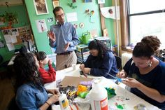 "Ezra Parzybok teaches art to teenage mothers at The Care Center in Holyoke. He says art is ""a great way of . . . helping you discover what makes you unique.''"