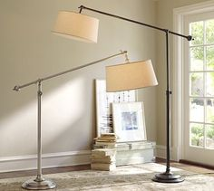 Chelsea Sectional Floor Lamp #potterybarn  Love this for my sectional family room sofa, right in the middle wedge cushion where I never have light to read!