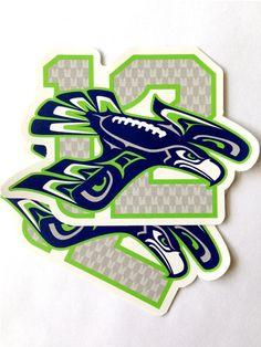 Seattle Seahawks '12 Hawk' Vinyl Stickers Great Gift by C2Kdesign