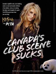 Ke$ha Blasts Canada's Seal Slaughter #celebs #peta #savetheseals