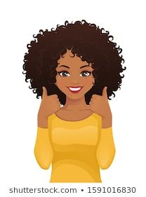 Portrait of a smiling beautiful woman with an Afro hairstyle showing thumbs up . Portrait of smiling beautiful woman with afro hairstyle showing thumbs up isolated vector illustrat Black Girl Art, Black Women Art, Black Girls Rock, Black Girl Magic, African American Art, African Art, Art Noir, Afro Braids, Natural Afro Hairstyles