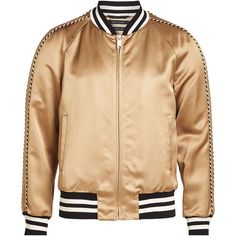 Marc Jacobs Satin Bomber Jacket (15.980 UYU) ❤ liked on Polyvore featuring men's fashion, men's clothing, men's outerwear, men's jackets, jackets, outerwear, gold, mens sport jackets, mens urban jackets and mens sports jacket