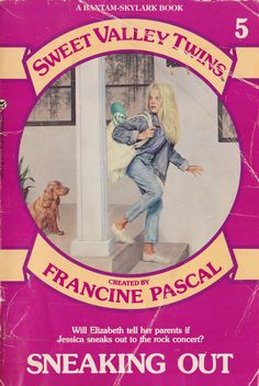 Checking out Sweet Valley Twins books from the library