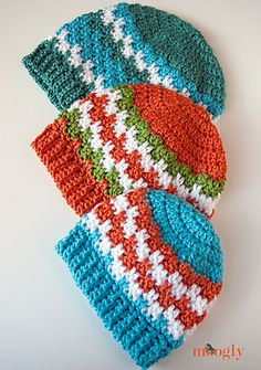 Ravelry: Leaping Stripes and Blocks Beanies pattern by Tamara Kelly
