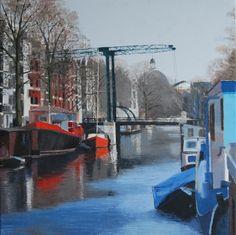 "Gineke Zikken ""Brouwersgracht x 70 cm) Amsterdam, Quilt, Paintings, City, Ideas, Quilt Cover, Paint, Painting Art, Quilts"
