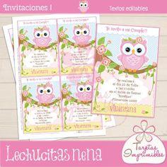 Tarjetas o Invitaciones Lechucitas o Bhúos para fiestas de niñas