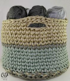 Crocheting Squared: Crochet Basket Pattern | Using yarn to organize your yarn is genius, so check out this crochet basket pattern to impress your fellow crochet addicts.