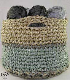 Crocheting Squared: Crochet Basket Pattern | Using yarn to organize your yarn is genius, so check out this crochet basket pattern to impress your fellow crochet addicts.