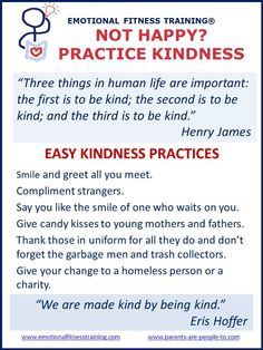 EFTI Practice Kindness Poster Coach to improve your Emotional Intelligence.