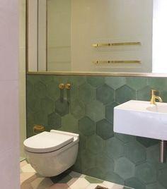 Emerald green hexagon and Brass Tapware, Divine